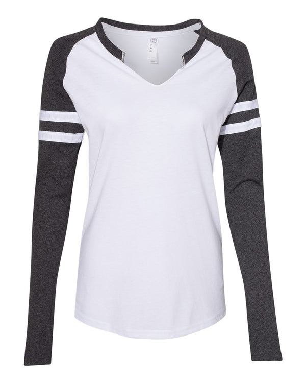 Women's Fine Jersey Mash Up Long sleeve T-Shirt-LAT-Pacific Brandwear