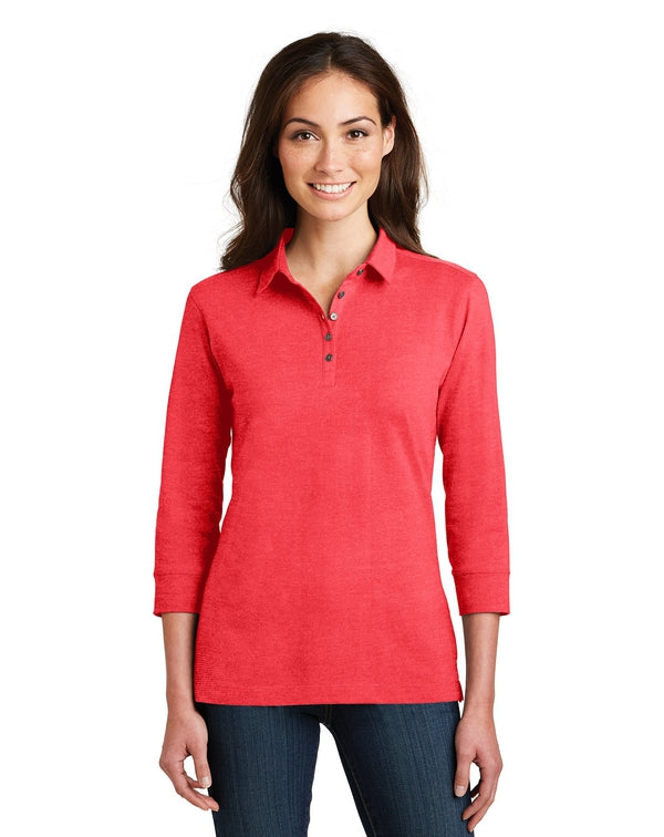 Port Authority® Ladies 3/4-Sleeve Meridian Cotton Blend Polo-Port Authority-Pacific Brandwear