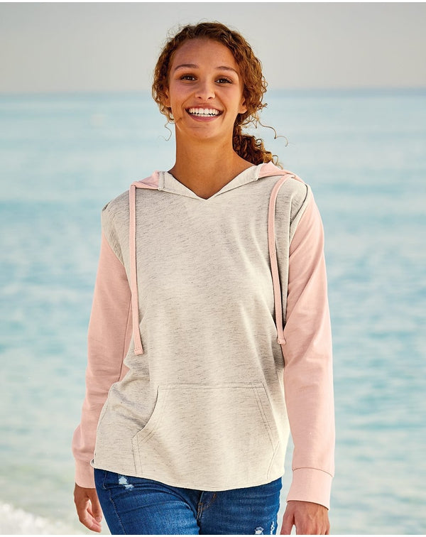 Women's French Terry Hooded Pullover with Colorblocked sleeves-MV Sport-Pacific Brandwear
