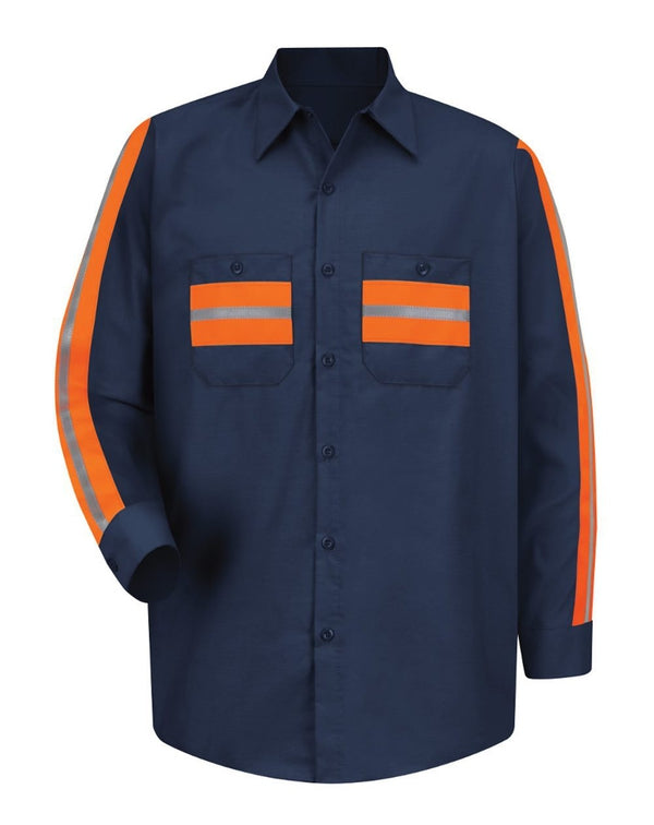 Red Kap Long Sleeve Enhanced Visibility Industrial Work Shirt-Red Kap-Pacific Brandwear