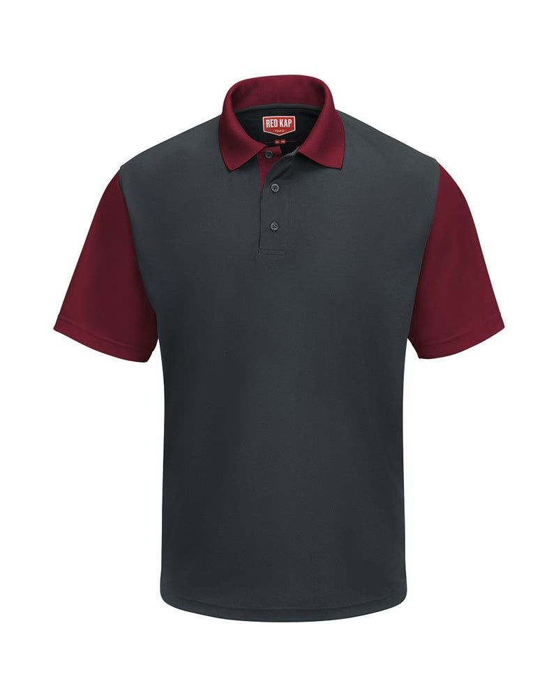 Short sleeve Performance Knit Color-Block Polo-Red Kap-Pacific Brandwear
