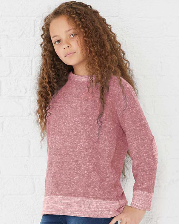 Youth Harborside Melange French Terry Long sleeve with Elbow Patches-Rabbit Skins-Pacific Brandwear