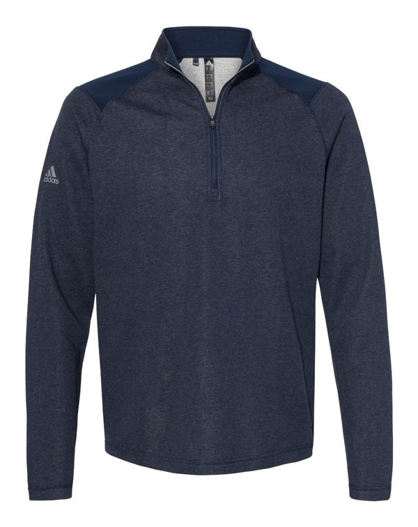 Heathered Quarter Zip Pullover with Colorblocked Shoulders-Adidas-Pacific Brandwear