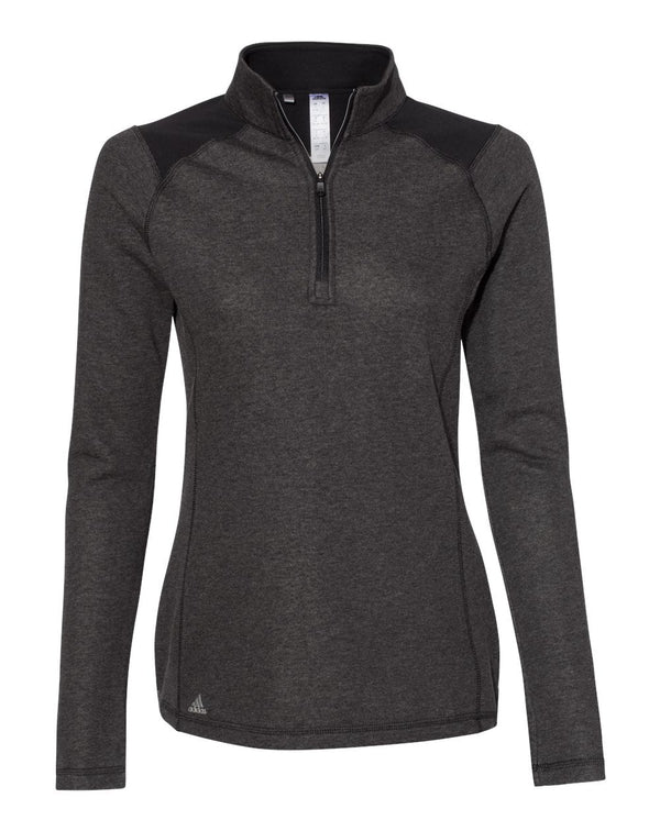 Women's Heathered Quarter Zip Pullover with Colorblocked Shoulders-Adidas-Pacific Brandwear