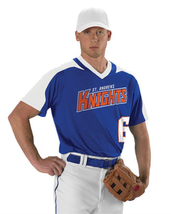 Youth V-Neck Baseball Jersey-Alleson Athletic-Pacific Brandwear