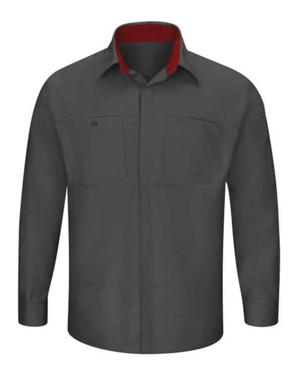Red Kap Men's Performance Plus Long Sleeve Shop Shirt with Oilblok Technology-Red Kap-Pacific Brandwear