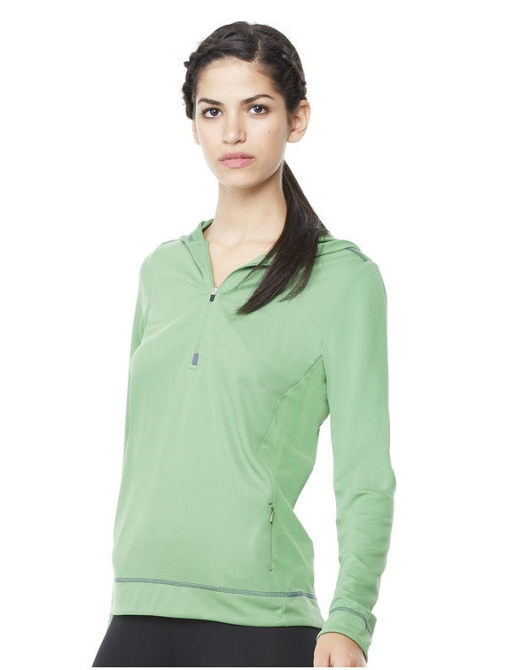 Women's Long sleeve Half-Zip Hooded Pullover-All Sport-Pacific Brandwear