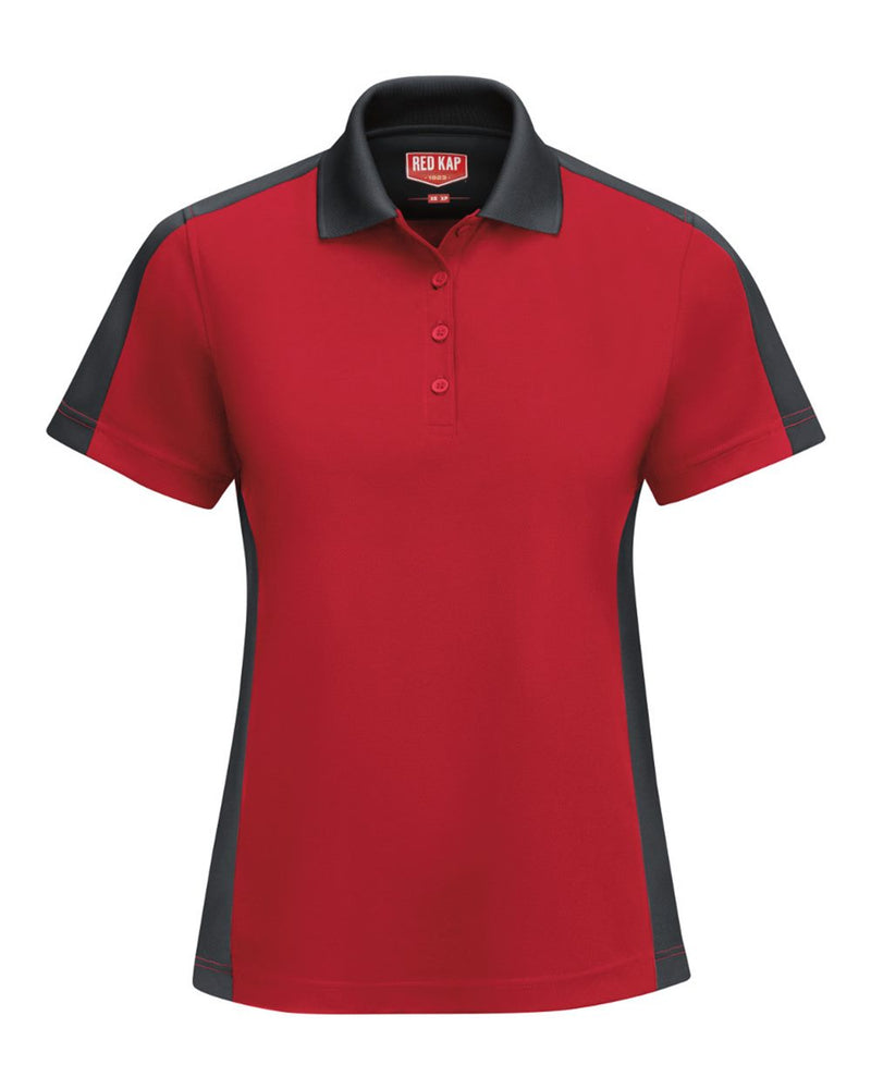 Women's Short sleeve Performance Knit Two-Tone Polo-Red Kap-Pacific Brandwear