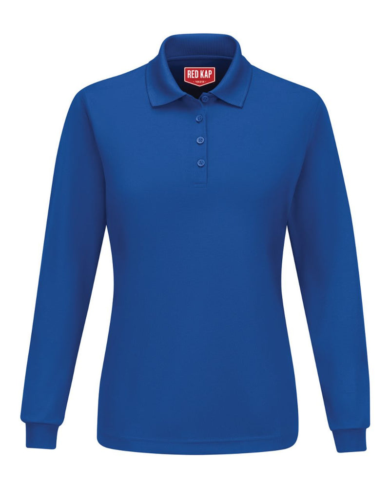Women's Long sleeve Performance Knit Polo-Red Kap-Pacific Brandwear