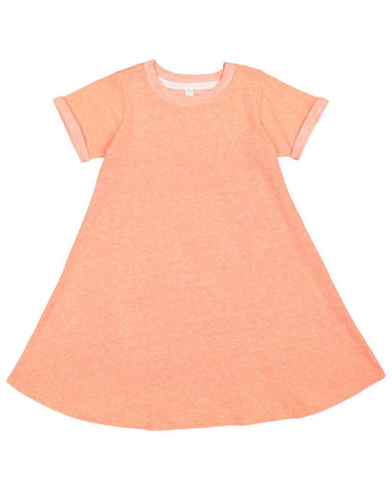 Harborside Melange French Terry Girls' Twirl Dress-Rabbit Skins-Pacific Brandwear