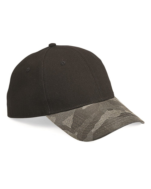 Canvas Crown Cap with Weathered Camo Visor-Outdoor Cap-Pacific Brandwear