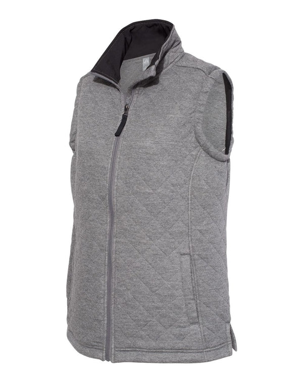 Women's Quilted Full-Zip Vest-J. America-Pacific Brandwear