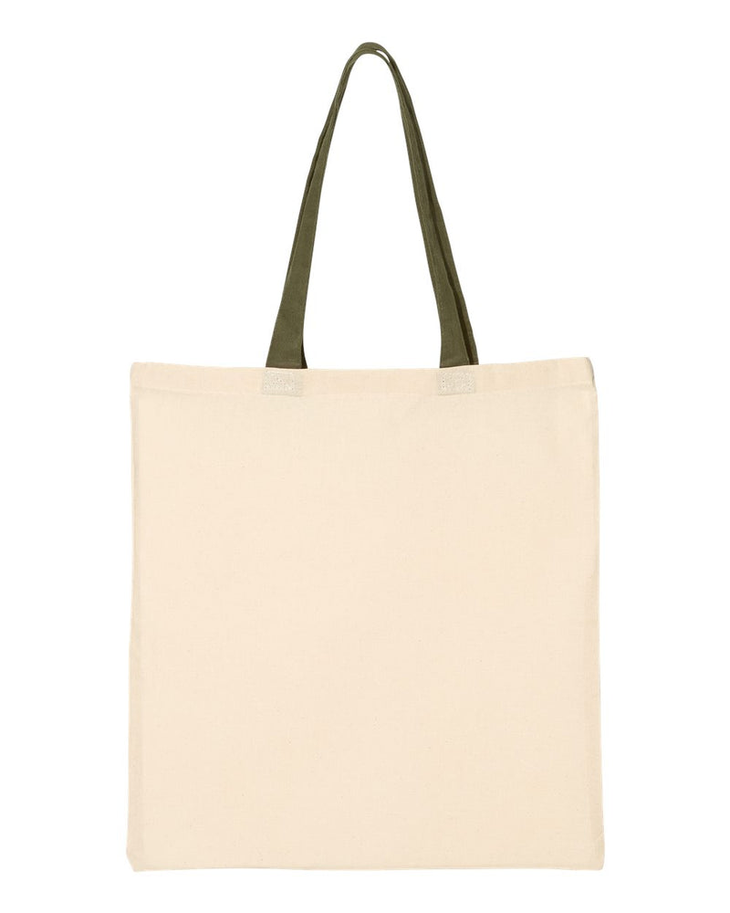 Economical Tote with Contrast-Color Handles-Q-Tees-Pacific Brandwear