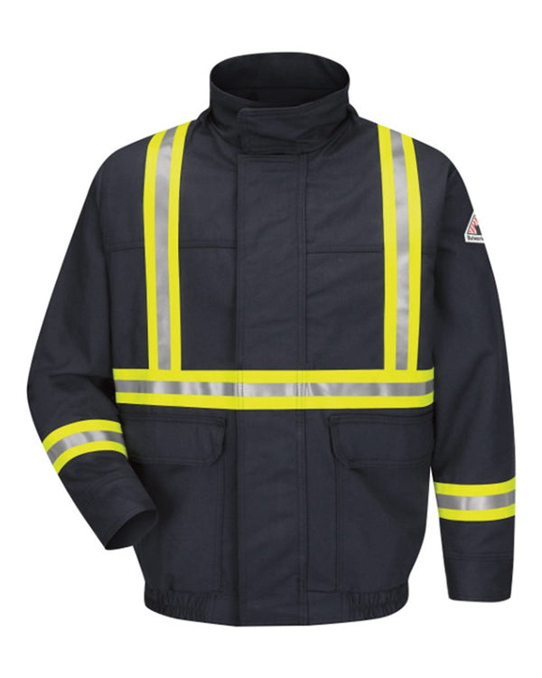 Lined Bomber Jacket with Reflective Trim - EXCEL FR ComforTouch - Long Sizes-Bulwark-Pacific Brandwear