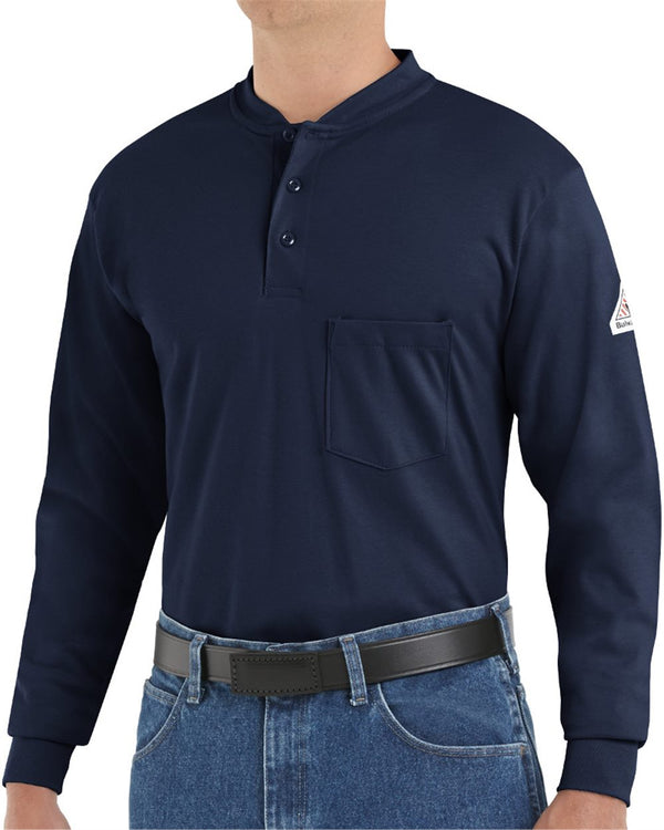 Long sleeve Tagless Henley Shirt - Long Sizes-Bulwark-Pacific Brandwear