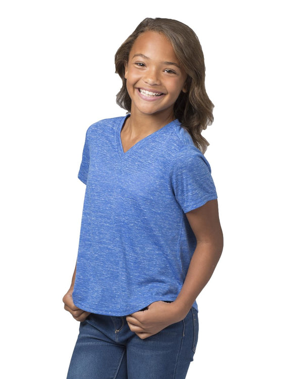 Girls' Snow Heather V-Neck T-Shirt-Boxercraft-Pacific Brandwear