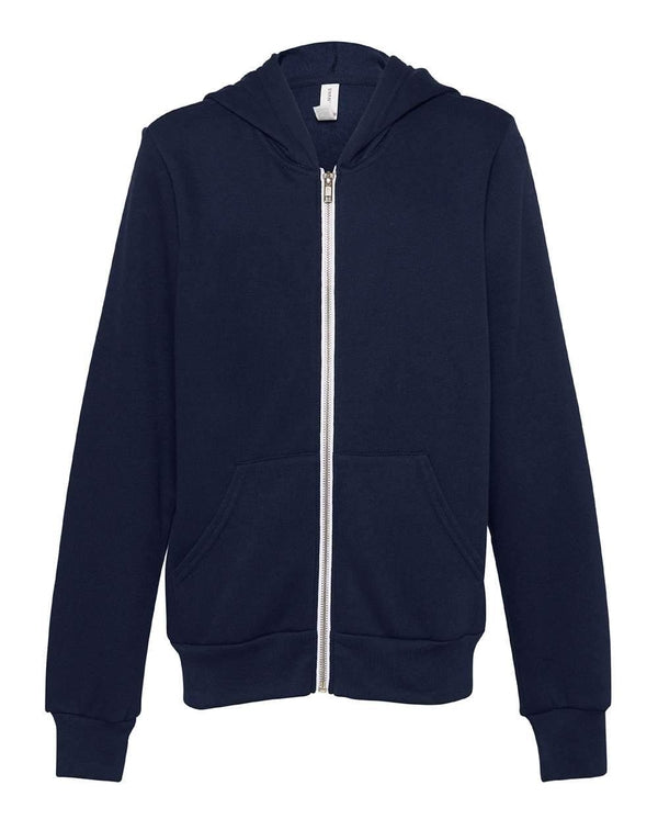 Youth Sponge Fleece Full-Zip Hoodie-BELLA + CANVAS-Pacific Brandwear