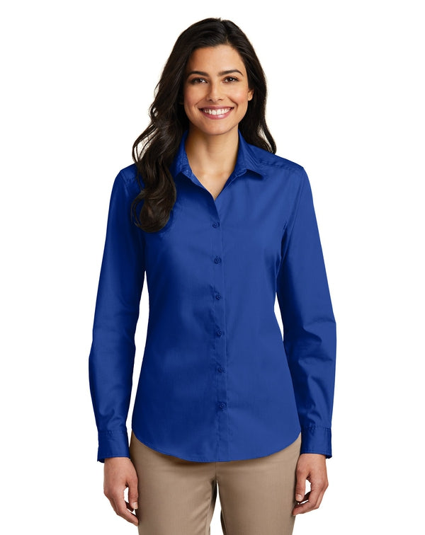Port Authority® Ladies Long Sleeve Carefree Poplin Shirt-Port Authority-Pacific Brandwear
