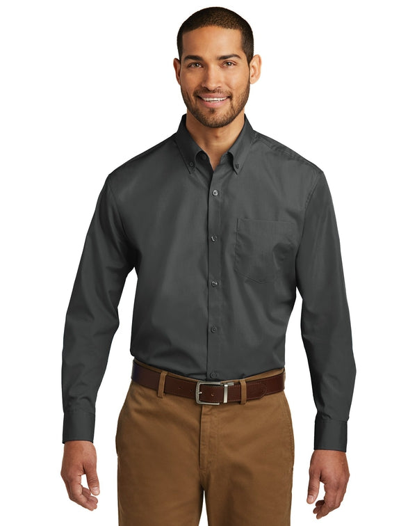 Port Authority® Long Sleeve Carefree Poplin Shirt-Port Authority-Pacific Brandwear
