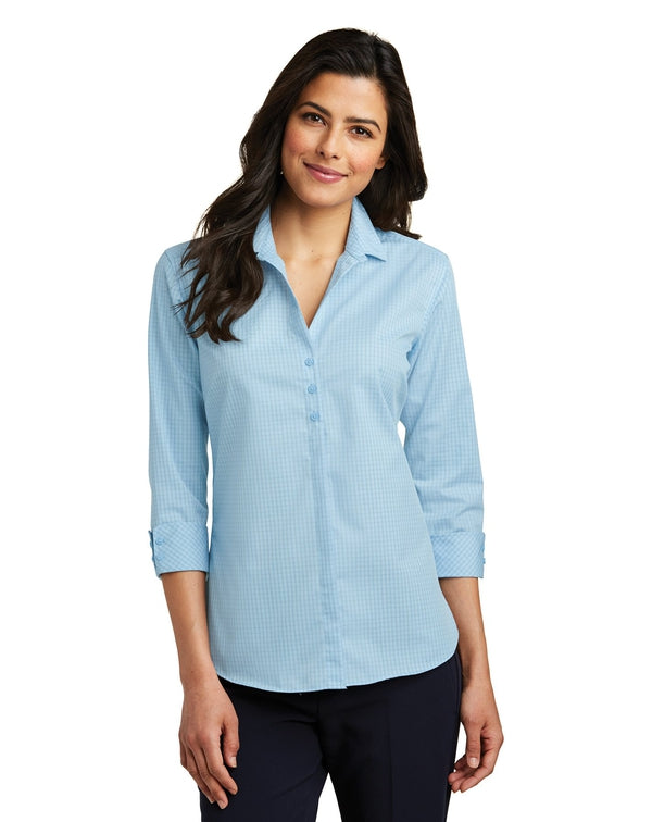 Port Authority® Ladies 3/4-Sleeve Micro Tattersall Easy Care Shirt-Port Authority-Pacific Brandwear