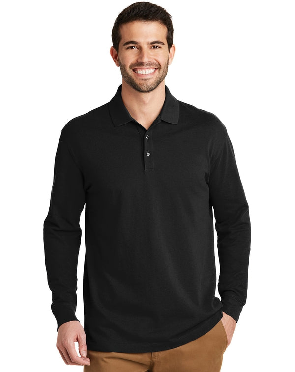 Port Authority® EZCotton™ Long Sleeve Polo-Port Authority-Pacific Brandwear