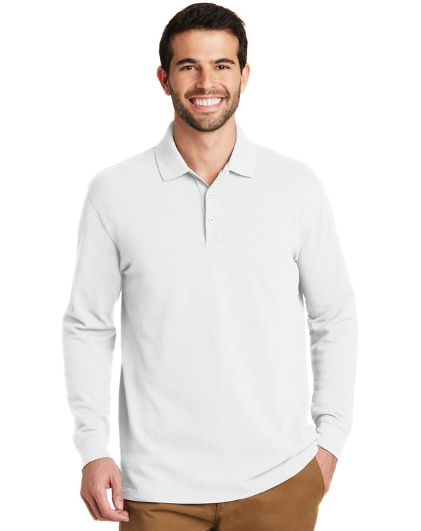Port Authority®EZCotton™ Long Sleeve Polo-Port Authority-Pacific Brandwear