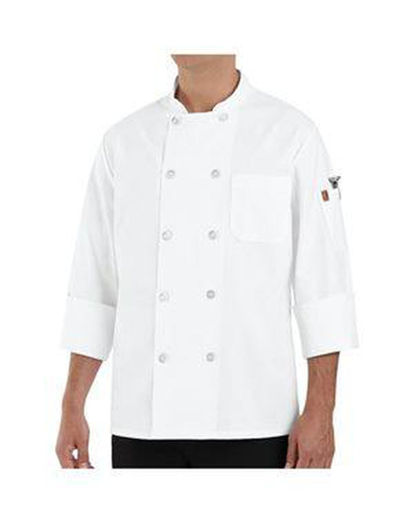 100% Polyester Ten Pearl Button Chef Coat Long Sizes-Chef Designs-Pacific Brandwear