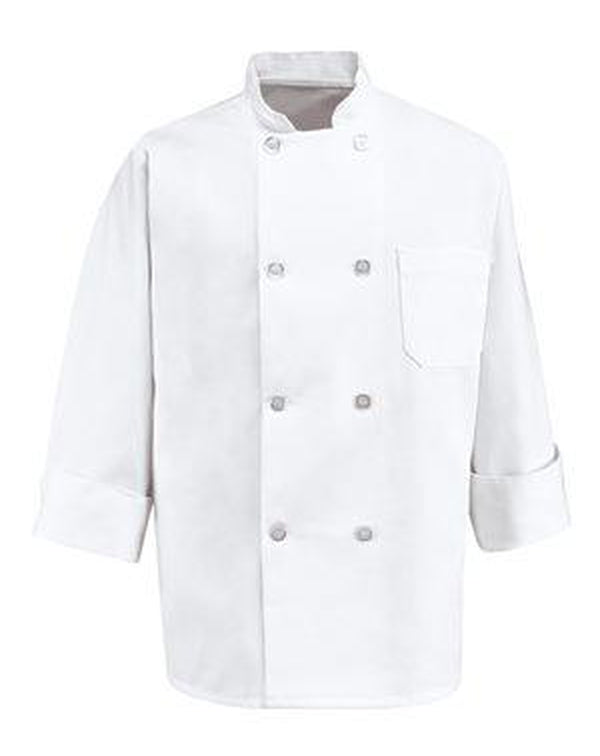 Eight Pearl Button Chef Coat Long Sizes-Chef Designs-Pacific Brandwear