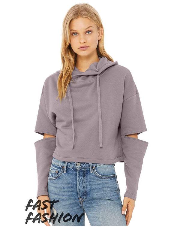 Fast Fashion Women's Cut Out Fleece Hoodie-BELLA + CANVAS-Pacific Brandwear