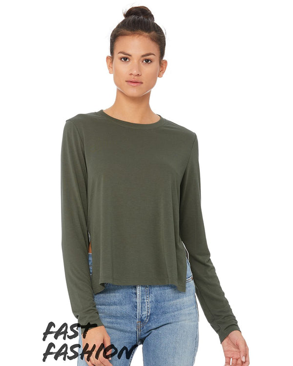 Fast Fashion Women's Side Slit Long sleeve Tee-BELLA + CANVAS-Pacific Brandwear