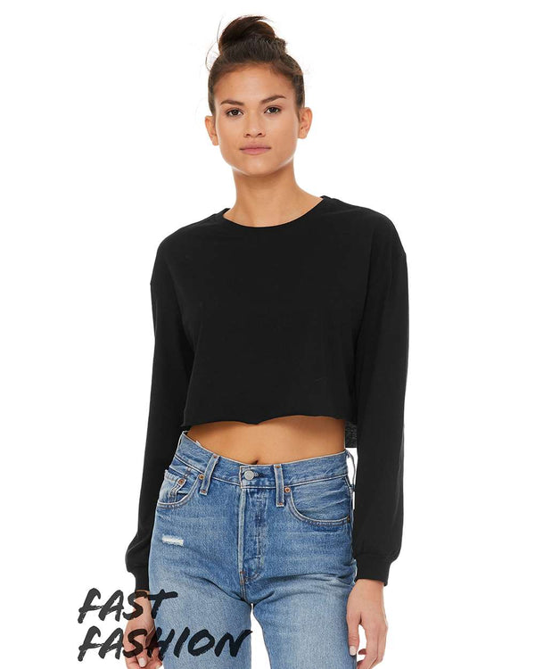 Fast Fashion Women's Cropped Long sleeve Tee-BELLA + CANVAS-Pacific Brandwear