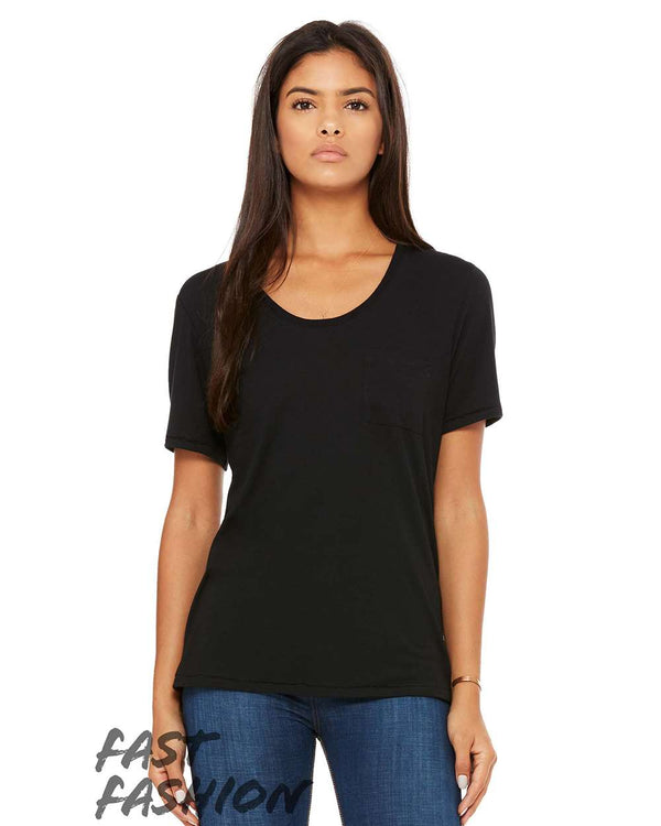 Fast Fashion Women's Flowy Pocket Tee-BELLA + CANVAS-Pacific Brandwear