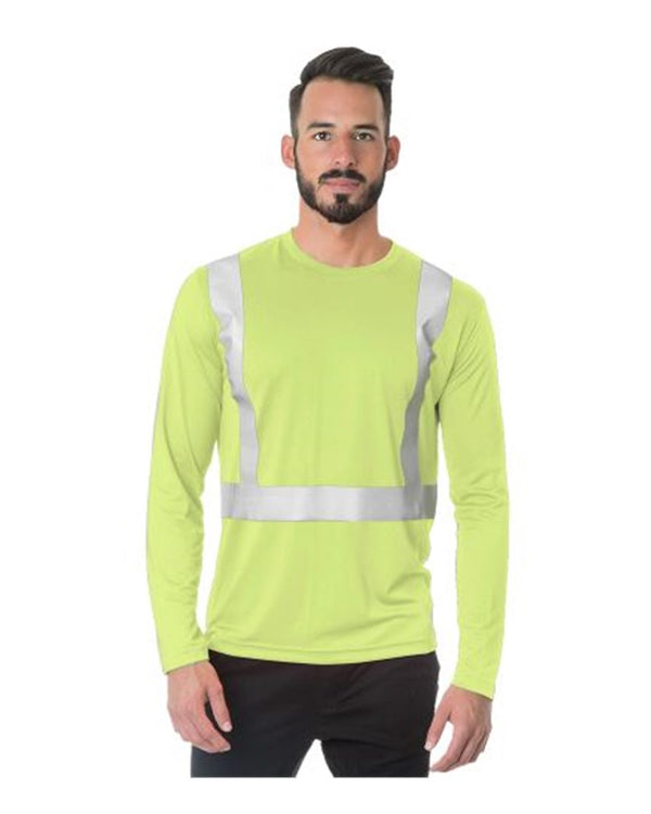 USA-Made Hi-Visibility Long sleeve Performance T-Shirt - Solid Tape-Bayside-Pacific Brandwear