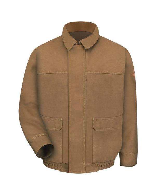 Brown Duck Lined Bomber Jacket - EXCEL FR ComforTouch - Long Sizes-Bulwark-Pacific Brandwear