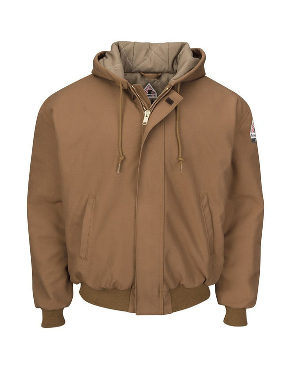 Insulated Brown Duck Hooded Jacket with Knit Trim-Bulwark-Pacific Brandwear