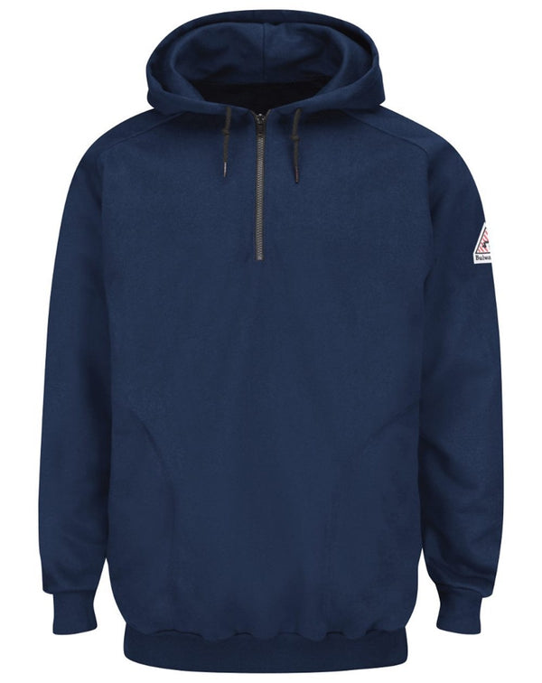 Pullover Hooded Fleece SweatShirt Quarter-Zip - Long Sizes-Bulwark-Pacific Brandwear