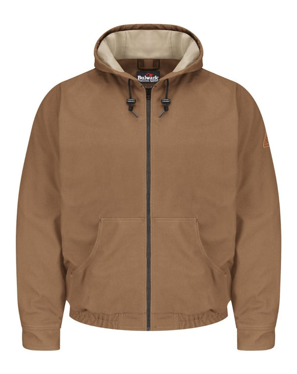 Brown Duck Hooded Jacket - EXCEL FR ComforTouch - Long Sizes-Bulwark-Pacific Brandwear