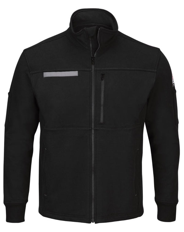Zip Front Fleece Jacket-Cotton /Spandex Blend - Long Sizes-Bulwark-Pacific Brandwear