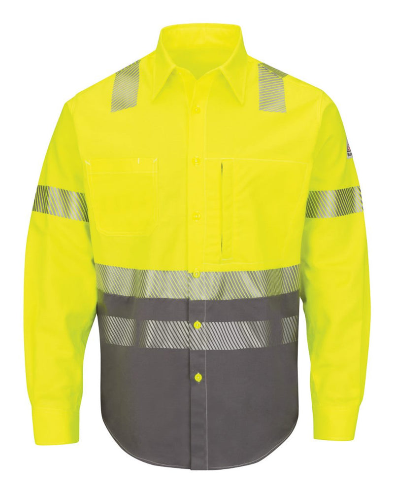 Hi-Visibility Color Block Uniform Shirt - EXCEL FR ComforTouch - 7 oz. - Long Sizes-Bulwark-Pacific Brandwear