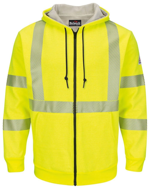 Hi-Visibility Zip-Front Hooded Fleece SweatShirt with Waffle Lining - Long Sizes-Bulwark-Pacific Brandwear