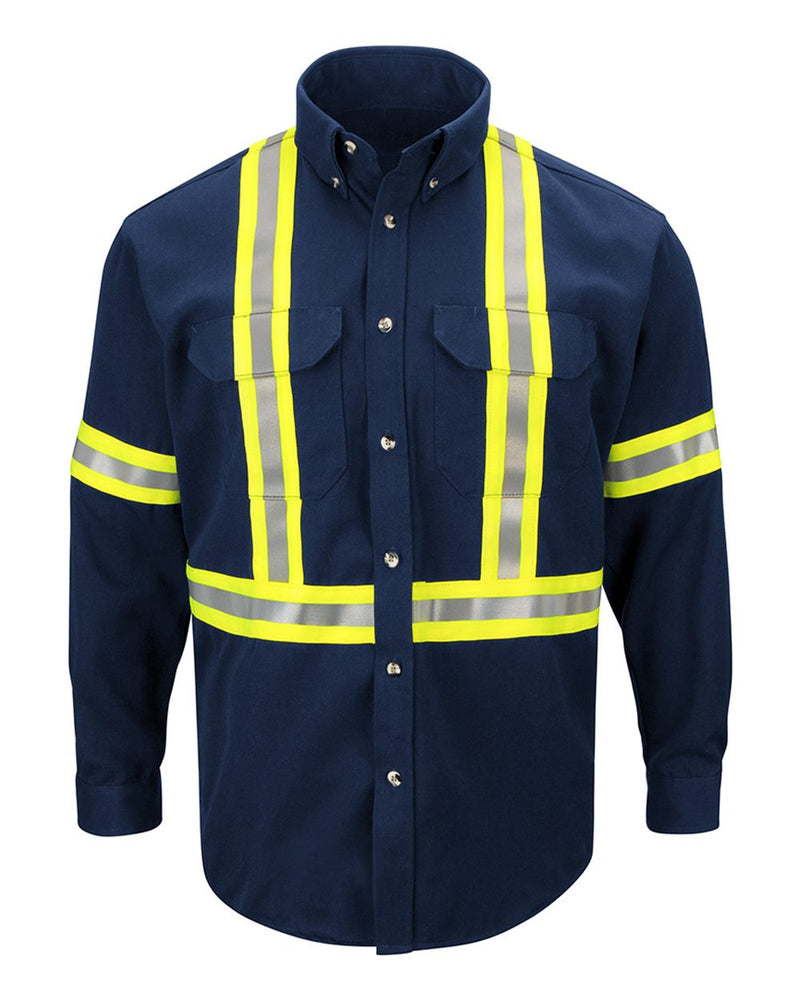 Dress Uniform Shirt with CSA reflective trim - EXCEL FR ComforTouch - Long Sizes-Bulwark-Pacific Brandwear