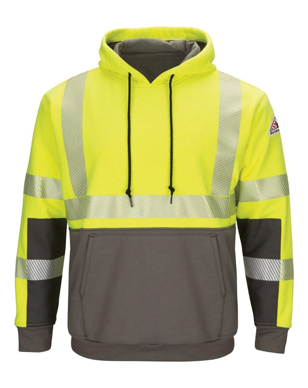 Hi-Visibility Color-Blocked Pullover Hooded Fleece SweatShirt - Long Sizes-Bulwark-Pacific Brandwear