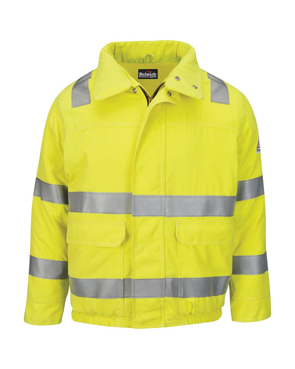 Hi-Visibility Lined Bomber Jacket with Reflective Trim - CoolTouch2 - Long Sizes-Bulwark-Pacific Brandwear