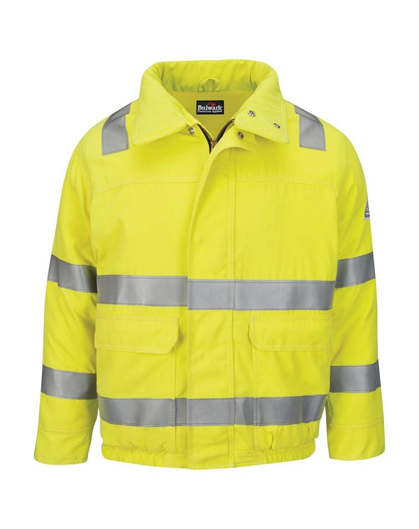 Bulwark Hi-Visibility Lined Bomber Jacket with Reflective Trim - CoolTouch®2 - Long Sizes-Bulwark-Pacific Brandwear