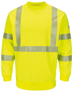Hi-Visibility Crewneck Fleece Sweatshirt - Long Sizes-Bulwark-Pacific Brandwear