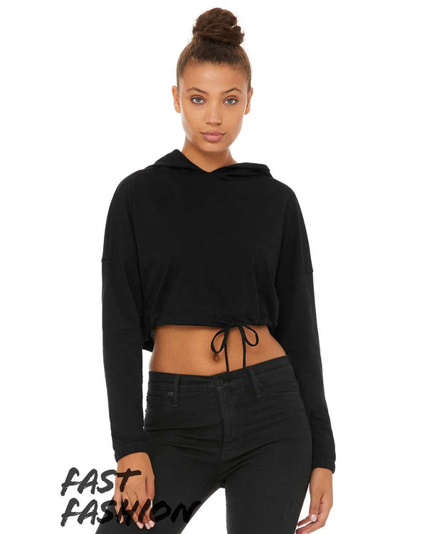 Fast Fashion Women's Cinched Cropped Hoodie-BELLA + CANVAS-Pacific Brandwear