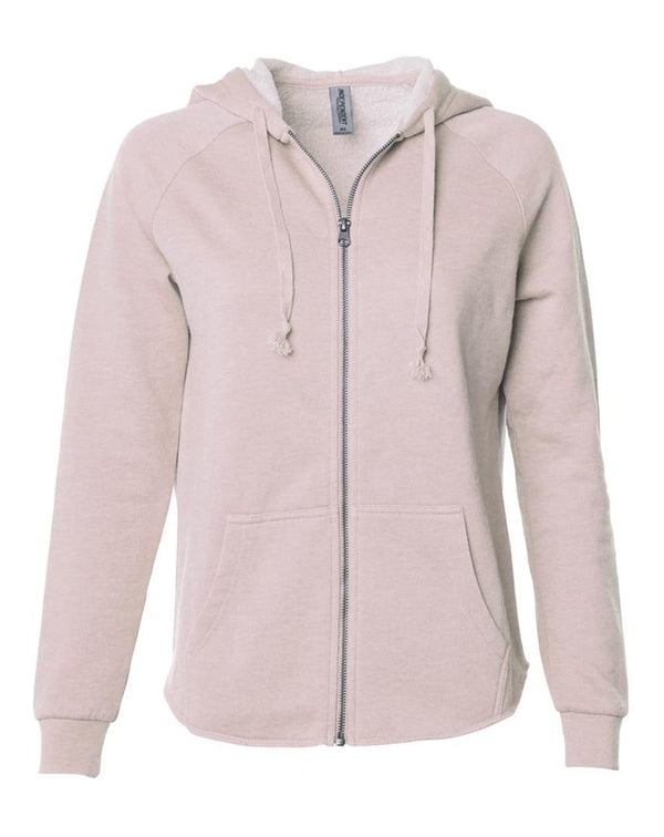 Women's California Wave Wash Full-Zip Hooded Sweatshirt-Independent Trading Co.-Pacific Brandwear