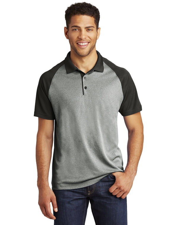 Sport-Tek®PosiCharge®RacerMesh® Raglan Heather Block Polo-Sport-Tek-Pacific Brandwear