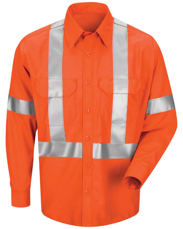Men's Long sleeve Poplin Dress Shirt With CSA Compliant Reflective Trim-Red Kap-Pacific Brandwear