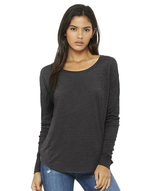 Bella Women's Flowy 2x1 Ribbed Long Sleeve Tee-BELLA CANVAS-Pacific Brandwear